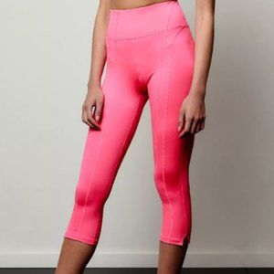 New Hot pink Free People FM 3/4 crop leggings L